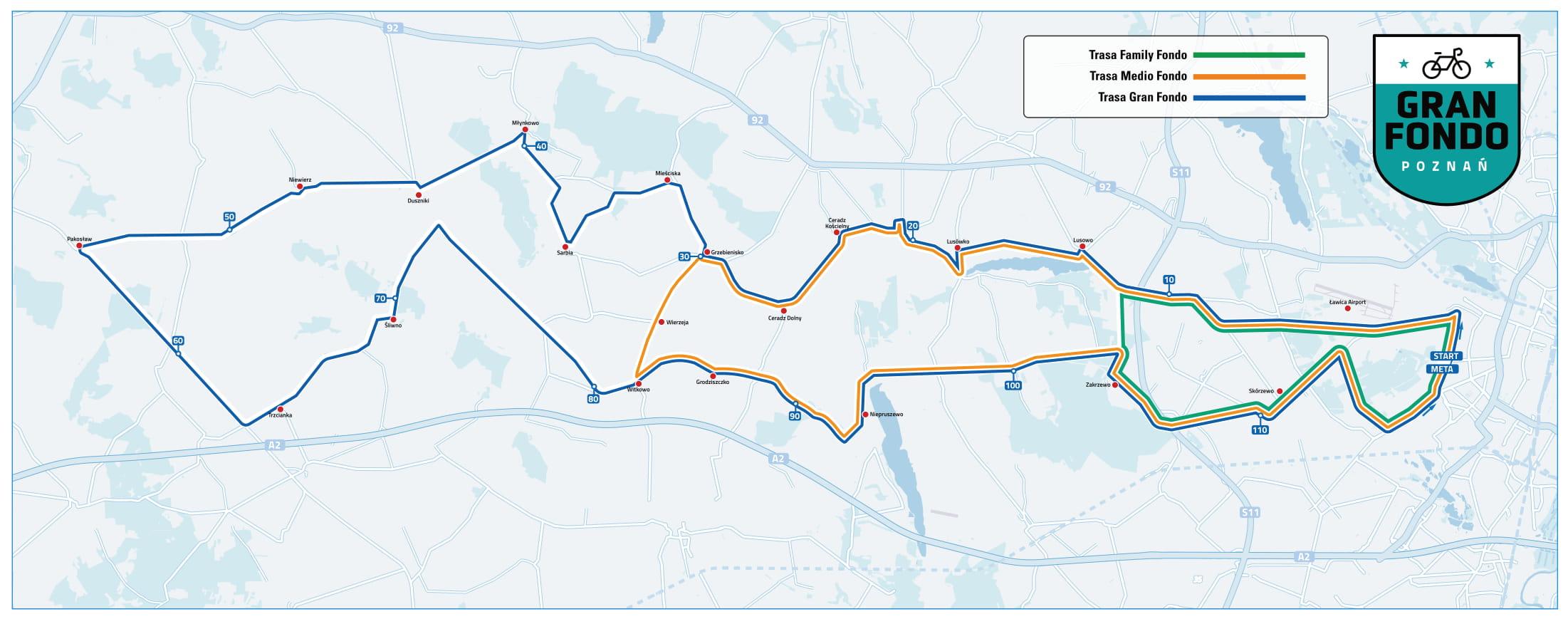 Gran Fondo Poznań 2021 trasy